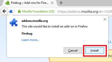 Firebug install