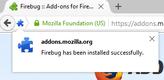 Firebug installed successfully