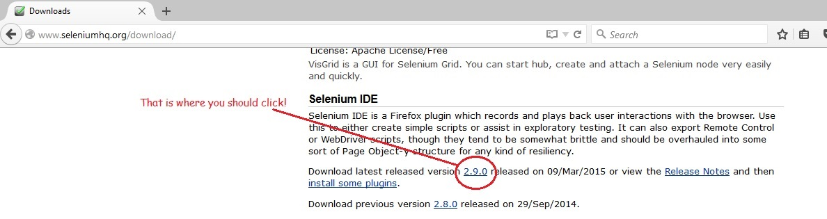 Selenium IDE download link