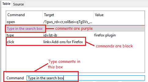 Commands and Comments