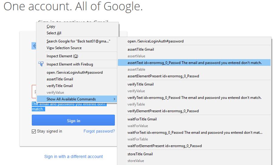 Verify text command