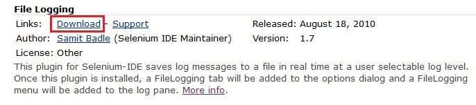 File logging download link