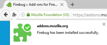 Firebug installation success