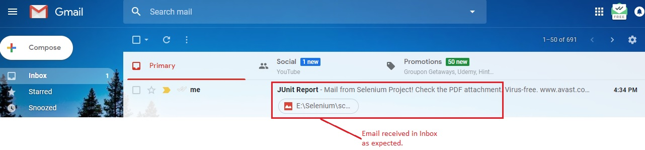Email received in Inbox