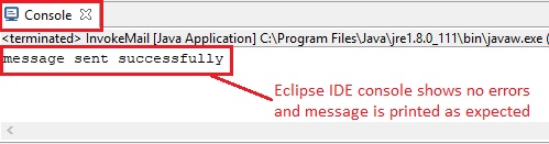 Email eclipse console output
