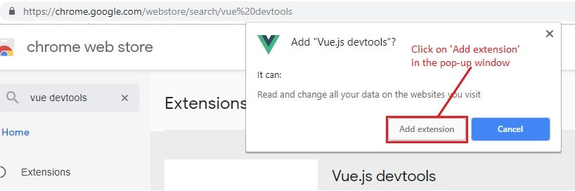 Devtools add confirmation