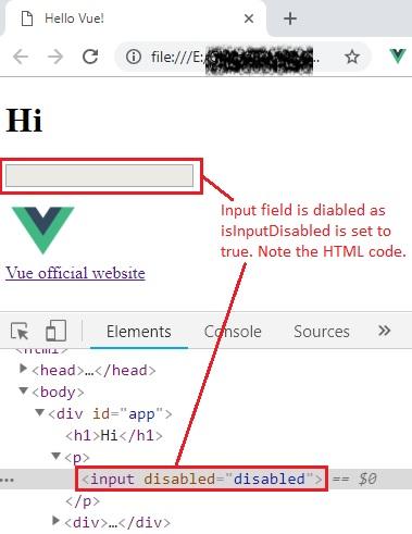 v-bind input disabled