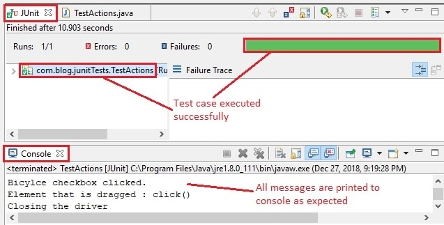 Actions eclipse IDE output