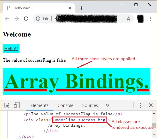 Class binding with arrays
